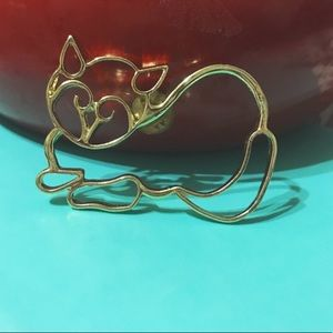 Vintage Gold Cat Brooch